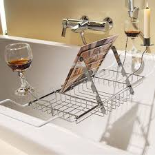 bathtub caddy tray shelf reading rack wine glass holder bath tub rack storage