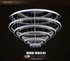 luxury modern crystal chandelier 5 rings design res de cristal lobby led chandelier for ceiling