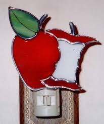 Apple Night Light AppleCore Nightlight Stained By Glassbypat