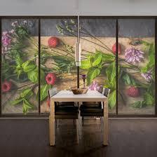 Fensterfolie Sichtschutz Fenster Blumen Himbeeren Minze Blumen