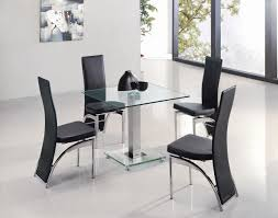 fascinating black leather modern dining room chairs chrome frame square glass table top stainless steel base