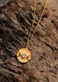 gold plated coin necklace moonstone