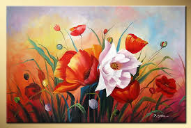 art works hand painted bright rose decorative landscape oil painting on canvas 16 16inch in painting calligraphy from home garden on aliexpress com