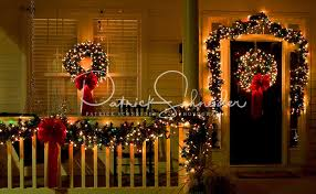 Christmas lights and decorations adorn a home in the town of McAdenville, NC.  The