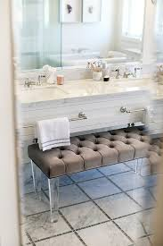 bench with lucite legs. Brilliant Lucite Contemporary Bathroom Boasts A Gray Velvet Tufted Bench With Lucite Legs  Tucked Under Floating Vanity Fitted Towel Holdersu2026 To Bench With Lucite Legs C