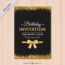 Elegant Birthday Invitation With Golden Details Vector
