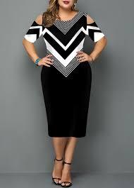 Modlily Size Chart Plus Size Chevron Print Cold Shoulder Dress Modlily Com Usd 31 43