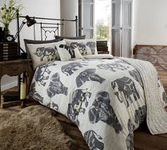 bed in a bag 5pc bedding duvet quilt cover set tribal elephant grey cream