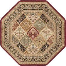 sensation red 5 ft octagon traditional area rug