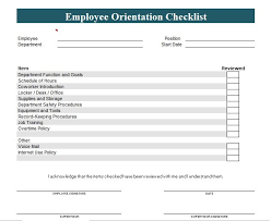Sample Orientation Checklist For New Employee New Employee Orientation Checklist Template Word And Excel Company