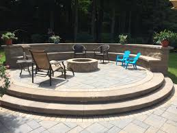 paver patio with gas fire pit. Circle Fire Pit Beautiful Raised Paver Patio Gas With A
