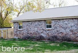 exterior house renovation progress painted brick