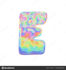 alphabet letter e uppercase funny font made of colorful soap bubble 3d render isolated on white background typographic symbol from iridescent holographic