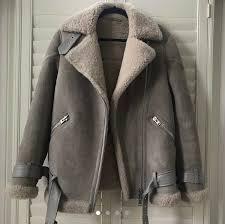 all saints shearling biker jacket small