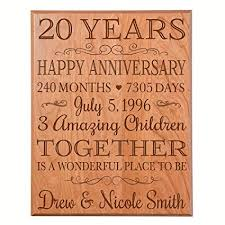 personalized 20th anniversary gifts ideas for couple happy 20 year wedding gift for her and