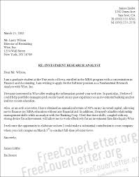Sample Research Cover Letter Investment Research Analyst Cover Letter Sample