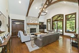 hensley custom home family room with timber trusses