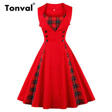 Us 17 99 30 Off Tonval Plaid Vintage Red Tunic Summer Dress Women Button Pinup Girls 1950s Dress 2018 Cotton Plus Size Retro Dresses In Dresses From