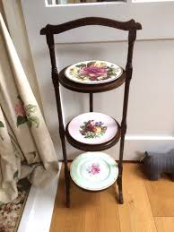 vintage folding 3 tier wooden cake stand original condition 1 of 12only 1 available