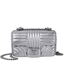 prada diagramme leather shoulder bag silver item no 1bd107 f0135 2b0x v coi