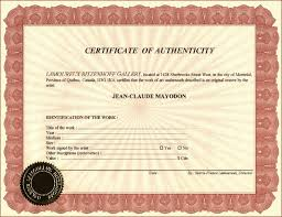 Certificate Of Authenticity Templates Virtren Com
