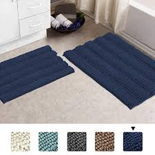 navy bath mats for bathroom machine washable bathroom rugs slip resistant extra absorbent soft and fluffy thick striped bath mat non slip microfiber