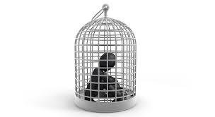 籠の中の鳥不自由身ピープルクリップアート無料素材