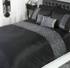 single size black silver sequin trim chic duvet cover set