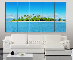 large wall art canvas blue sea landscape and beach 5 piece