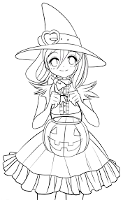 Small Picture Halloween Girl Coloring Pages Halloween Coloring Page Cute