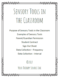 Sensory Tools For The Classroom Handouts Forms And Data