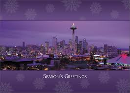 Purple Christmas Card Seattle At Night Christmas Card