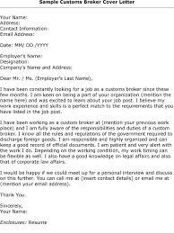 Customs Broker Cover Letter Sarahepps Com