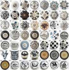 cabinets door knobs. vintage ceramic knobs, ornamental door knobs with various black, white \u0026 grey designs, kitchen cabinet handle, cupboard or drawer pulls cabinets d