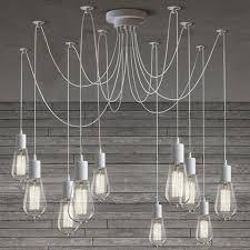 industrial loft lighting. 10 Light Cable Chandelier In White Industrial Loft Lighting