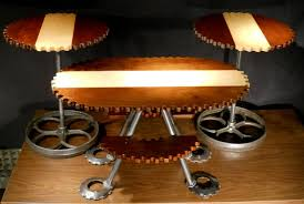 Industrial Looking Coffee Tables Hand Crafted 3pc Gear Shaped Livingroom Table Set Vintage