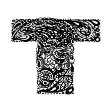 Fototapeta Písmeno T Dekorativní Abeceda S Bordó Zen Náplní Doodle Tetování