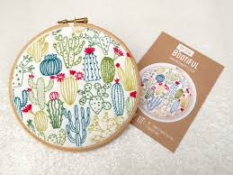 Cactus Embroidery Pattern Interesting Decoration