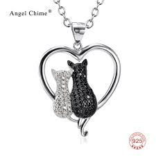 100 real 925 sterling silver heart necklace white black cubic zirconia two cat necklaces valentines