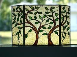 decorative fire screens tea light holders stained glass fireplace decorating interior of screen leaves trees fir decorative fire guards screens