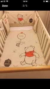 winnie the pooh nursery set cot per curtains and cot mobile