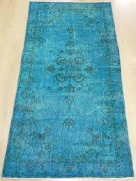 3 8x7 ft 112x213 cm teal blue vintage overdyed handmade turkish rug
