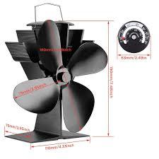 Stromloser Ventilator Für Kamin Holzöfen öfen Geräuscharmer Betrieb 4 Rotorblätter Kamin Ventilator Ofenventilator Feuerstelle Kaminöfen