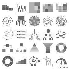 The Charts Set Of Icons Circular Diatram Speedometer