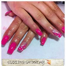Acrylics, shellac, nail art designs french hot pink manicure with ...