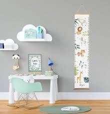Growth Chart Personalised Jungle Height Chart Safari Growth Chart Ruler Animal Nursery Decor Wooden Hangers Baby Christmas Gift
