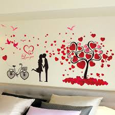 romantic wall decals romantic love tree wall stickers paper wall decorations heart tree sticker home wall