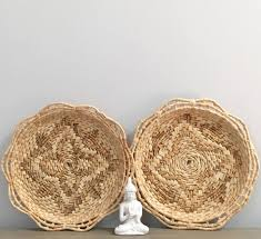 vintage woven wall baskets tray pair set coiled raffia straw basket boho jungalow decor