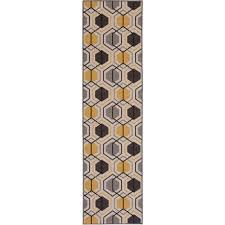 contemporary geometric stripe non slip non skid yellow area rug runner 2
