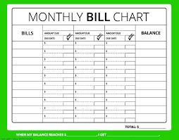 72 Meticulous Bill Chart Template Free